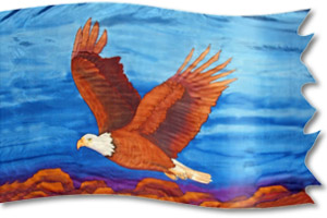 "The design ""Águila Remontando"" in hand crafted silk"