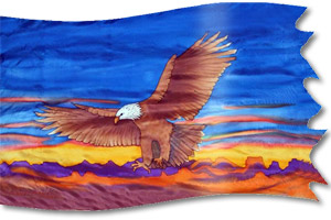 "The design ""Águila Descendiendo en Guerra"" in hand crafted silk"