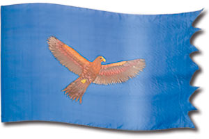 "The design ""Águila Volando (Azul Clara)"" in hand crafted silk"